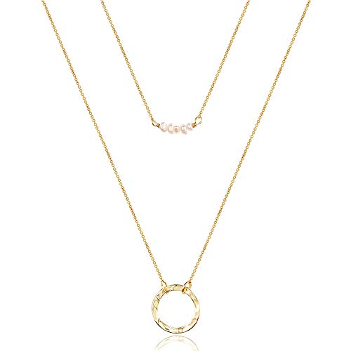 Turandoss Dainty Layering Pearls Necklace Gold Circle Necklace Simple Necklace Delicate Handmade 14k Real Gold Y Pendant Necklace for Women