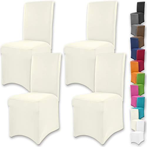 """Gräfenstayn 4pcs Fundas para sillas elásticas Henry - respaldos Redondos y angulares - Paquete Benefit - Ajuste bi-elástico con Sello Oeko-Tex Standard 100:""""Confianza verificada (Crema)"""