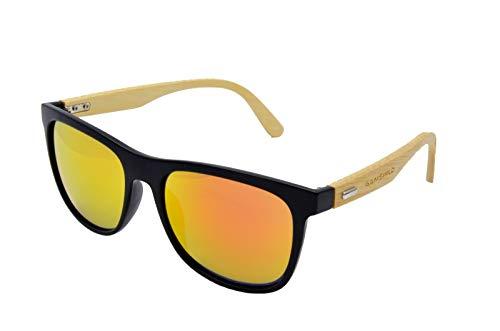 Gamswild WM1028 - Gafas de sol (bambú, unisex), color rojo, naranja, verde y amarillo