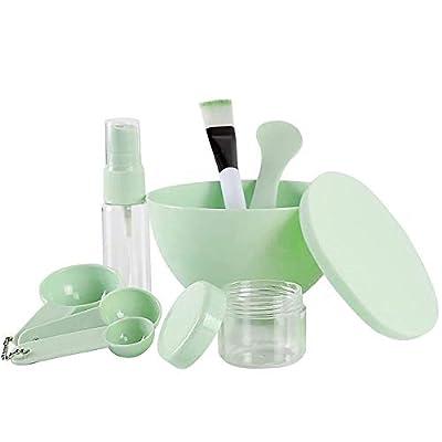 "Teenitor 9 in 1 DIY Face Mask Mixing Tool Large Bowl (3.95""×2.35"") Puff Stick Gauges Brush Soaking & Spray bottle Lady Facial Skin Care Women Face Care Mask Big Volume Mask Bowl Green"