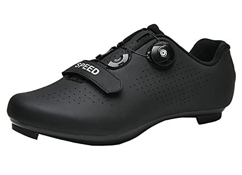 Zapatillas de ciclismo para hombre y mujer con tacos compatibles con pedales SPD y Delta Lock Pedal de bicicleta para exteriores e interiores y exteriores Peloton transpirables, Black, 47 EU
