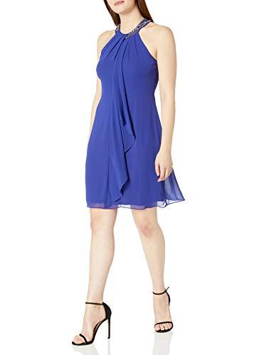 S.L. Fashions Women's Petite Jewel Halter Sheath Dress (Petite and Regular) Dress, iris, 4P