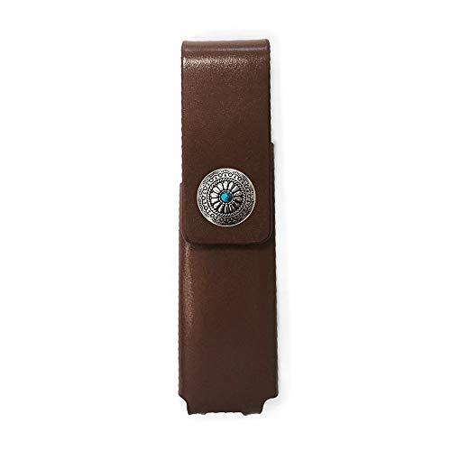 IQOS 3 MULTI 専用 アイコス3 コンチョ 本革 マルチ ケース (ブラウン/ネイティブコンチョ06) iQOSケース シンプル 無地 保護 カバー 収納 カバー 電子たばこ 革