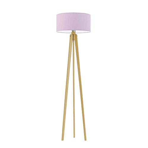 Lámpara de pie de madera Miami con pantalla de color morado claro, marco de madera de roble.