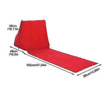 Coussin de plage gonflable en forme de triangle avec coussin de dos en forme de cale portable inclinable et pliable pour voyage, plage, extérieur
