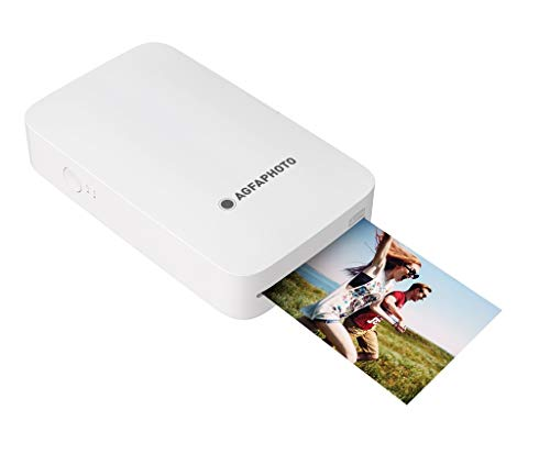 AgfaPhoto - Realipix Mini P - Fotodrucker 2,1 '' x 3,4 '' Bluetooth - Thermische Sublimation 4Pass - Weiß, AMP23-WH