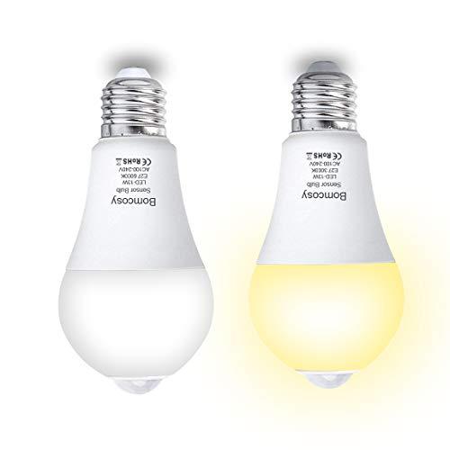 Bomcosy 13W LED Leuchtmittel E27 PIR Smart Sensor Birne mit Bewegungsmelder Warmweiß 3000K 1100 Lumen Automatische On/off für Veranda Terrasse Garage Non Dimmable 2er Pack