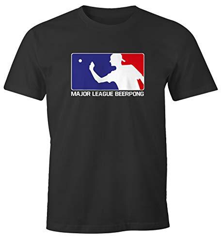MoonWorks® Herren T-Shirt Major League Beerpong lustiges Trink Shirt Saufen Bier Party anthrazit XL