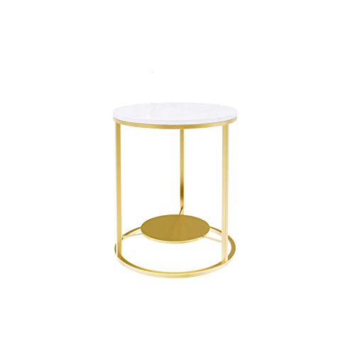 C-S-Qing-Desk Round Coffee Table, Marble Decorative Flower Stand Flower Shop Office Living Room Balcony Coffee Table Sofa Side Table(Size:40 * 40 * 55CM,Color:Gold)