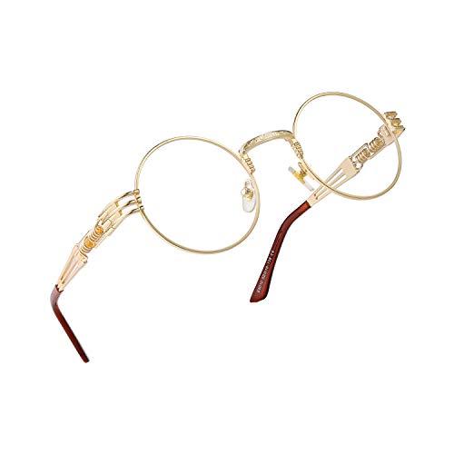 RANHUU Steampunk - Gafas de sol redondas para hombre y mujer, gafas John Lennon circulares de metal, Transparente (Lentes transparentes con marco dorado), Small