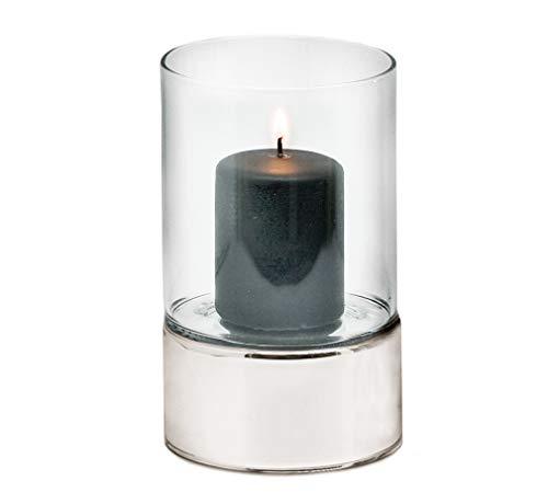 EDZARD Windlicht Granada, Keramik silberfarben und Glas, Durchmesser 9 cm, Höhe 15 cm