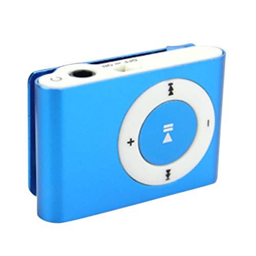 Greatangle Mini Clip in Metallo Lettore MP3 Sport Musica Digitale Supporto TF Card Lettore MP3 USB 2.0 con Jack per Cuffie da 3,5 mm Blu