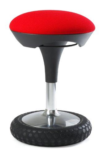 Topstar Sitness 20, ergonomischer Sitzhocker, Arbeitshocker, Bürohocker mit Schwingeffekt, Sitzhöhenverstellung, Bezug rot