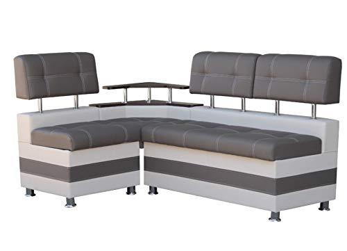 Eckbank Latte Essecke Sitzbank Grau Modern Kunstleder mit Ablage und Stauraum