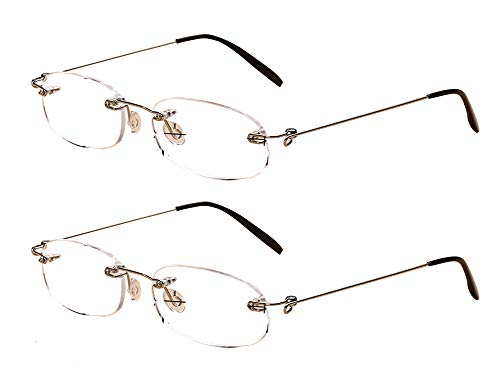 SOOLALA 2 Pairs Unisex Designer Lightweight Rimless Quality Readers Thin Reading Glasses, 2.5x