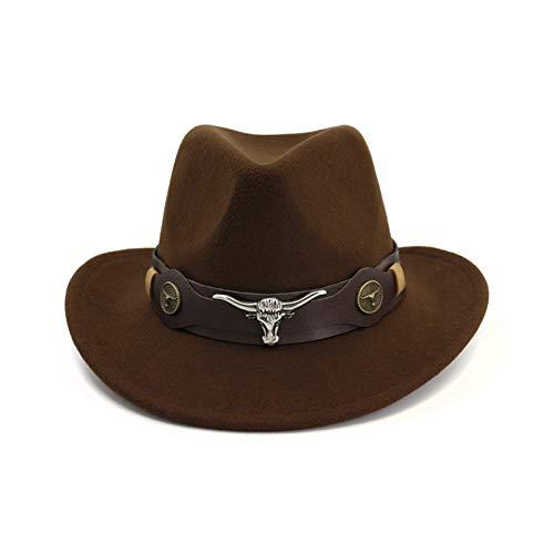 CHENGWJ Fedoras Cap Männer Wollfilz Trilby Jazz Cowboy Fedora Hüte Kuhkopf Lederband Dekor Männer Frauen Breiter Krempe Panama Sun Cap Zylinder