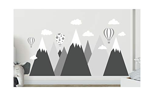 madras24 wandtattoo kinderzimmer Berge Nordic Bergen Aufkleber Wandaufkleber Kind Baby Kindergarten Zimmer Gebirge Luftballons Ballons Ballon Wolken Wolke Landschaft Wanddeko Baby Kinder Sticker G1XL