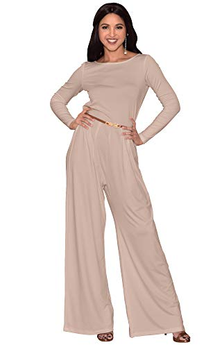 KOH KOH Womens Long Sleeve Wide Leg Belted Formal Elegant Cocktail Jumpsuit