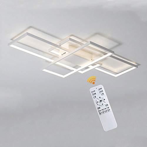 Lampada Da Soffitto A LED Lampada Da Soggiorno Dimmerabile Rettangolare Plafoniere 3 Anello Con Telecomando Lampadario Moderno Acrilico Paralume In Alluminio Cucina Applique A Muro,Bianca,90cm(80W)