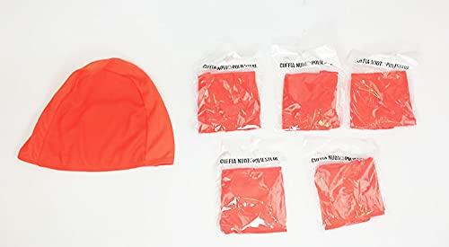 SWIMXWIN Paquete de 5 gorros de poliéster sin marca y bajo coste, oblicuadoras de piscina, natación, verano, baño de verano (5 unidades naranja)