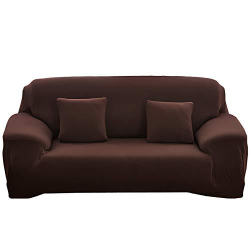 Home Comfort Housse de canapé 1, 2, 3 ou 4 places en tissu élastique (marron, trois places)