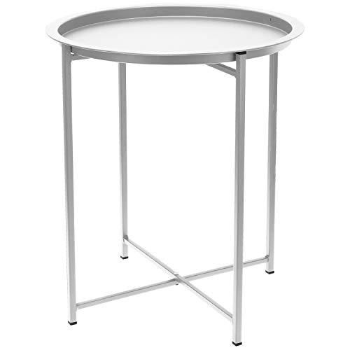 Multistore 2002 Beistelltisch mit abnehmbaren Tablett Ø46x52cm Metall Weiß, Metalltisch Bistrotisch Serviertisch Gartentisch Tabletttisch rund