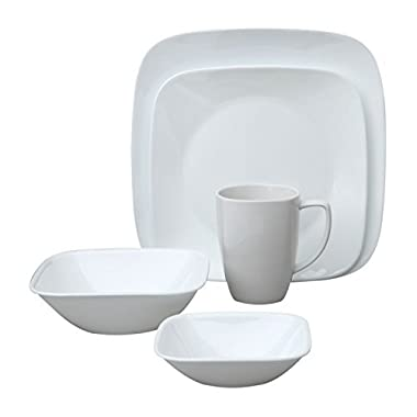 Corelle Square Pure White 20-Piece Dinnerware Set, Service for 4