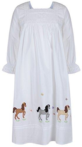 The 1 for U Mädchen 100% Baumwolle Nachthemd Pferd Pony Nachthemd Alter 4-12 Jessica - Weiß, Weiß, Age 10-12