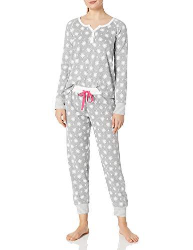 Amazon Brand - Mae Women's Sleepwear Vintage Thermal Loose Fit Henley Pajama Set, Grey Snowflake, L