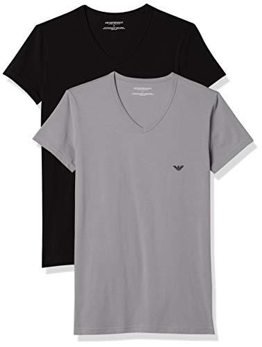 Emporio Armani CC717-111512, Camiseta para Hombre, Pack de 2, Multicolor (Negro/Gris), L