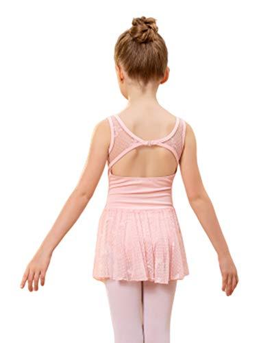 Bricnat Ballettkleid Mädchen Kurzarm Ballettkleidung Set Ballettschuhe Kinder Ballettanzug Gymnastikanzug Ballett Trikot mit Chiffon Wickelrock Ballettbody Ballettkleid Pink 150