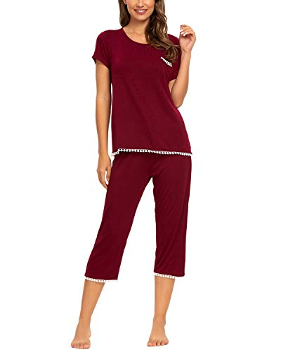 Unifizz Damen Zweiteiliges Pjs O Ausschnitt Shirts & Schlafhose Kurzarm Tops Gemütlich Nightwear(Size L,Weinrot)