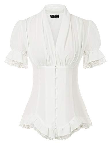Damen Renaissance Viktorianische Kurzarm Shirt Steampunk Lace Up Plissee Bluse Tops Weiß M