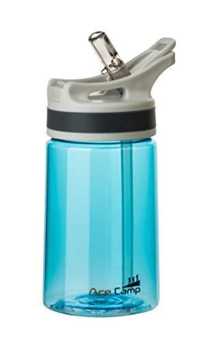 AceCamp TRITAN Botella de Agua | Botella de Agua a Prueba de Fugas sin BPA | Botella Deportiva Pajita I 350 ml I Azul I 15526