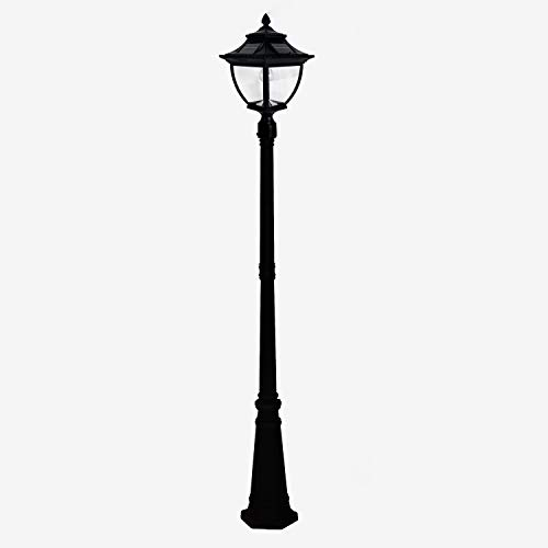 GAMA SONIC Pagoda Bulb Solar Lamppost with Single Head Lamp, Outdoor Light Fixture, 87