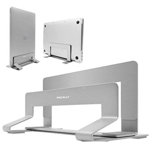 Macally Vertical Laptop Stand for Desk - Adjustable Laptop Holder for Universal Compatibility - Saves Space & Improves Device Airflow - Use as MacBook Stand or Laptop Dock - Weighted Steel Frame