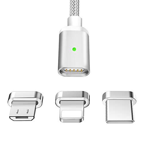 LAMA Magnet Ladekabel Magnetisches USB Datenkabel 1,5M 2,1A High Speed Sync und Schnellladekabel mit Blitz Typ C Micro USB Adapter für Android Windows Phone Silber