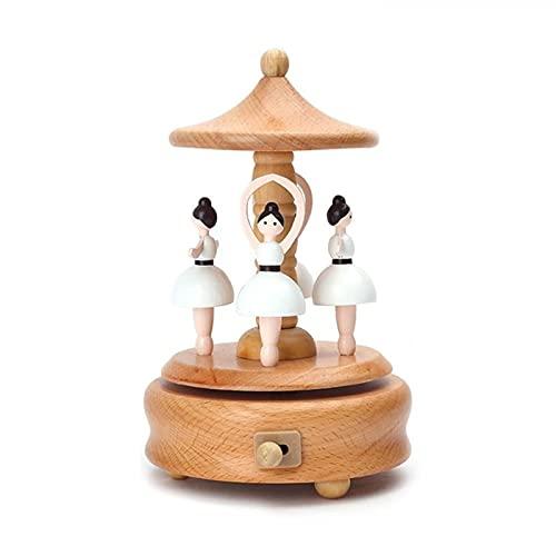 Caja de música Caja de música de merry-girando caja de música de madera artesanía de madera retro regalo de cumpleaños vintage decoración casera accesorios regalo de día de san valentín regalo para cu