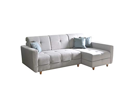 Ecksofa Sofa Eckcouch Couch mit Schlaffunktion und Bettkasten Ottomane L-Form Schlafsofa Bettsofa Polstergarnitur - TUCSON (Ecksofa Rechts, Hellgrau)