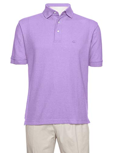 AKA Men's Solid Polo Shirt Classic Fit - Pique Chambray Collar Comfortable Quality Lavender X-Large