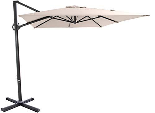 SORARA Roma Basic Parasol Déporté Jardin | Beige/Beige | 250 x 300 cm (2.5 x 3m) | Rectangulaire | Commande à Manivelle