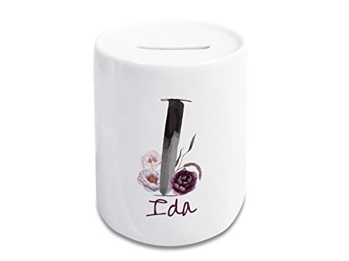 GRAZDesign Spaarpot met naam gepersonaliseerd, initialen spaarvarken, cadeau voor Kerstmis, verjaardag, alfabet letters Letter I