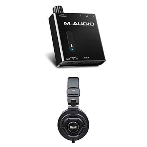 M-Audio Bass Traveler + Rane RH-2 - Batteriebetriebener Kopfhörer-Verstärker mit 2-Level Bass Boost und Over-Ear Kopfhörer mit vollständig zusammenklappbarem Design und abnehmbarem Kabel
