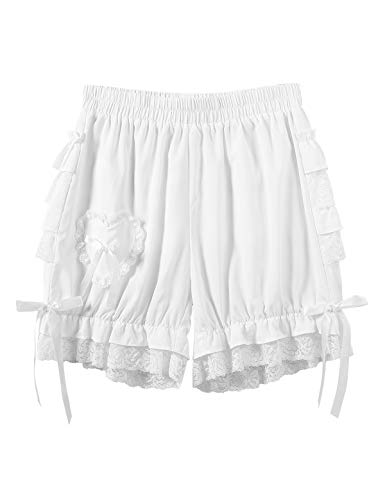 Agoky Women's Victorian Pumpkin Maid Bloomers Lace Ruffles Shorts Pantaloons Panty White XL steampunk buy now online