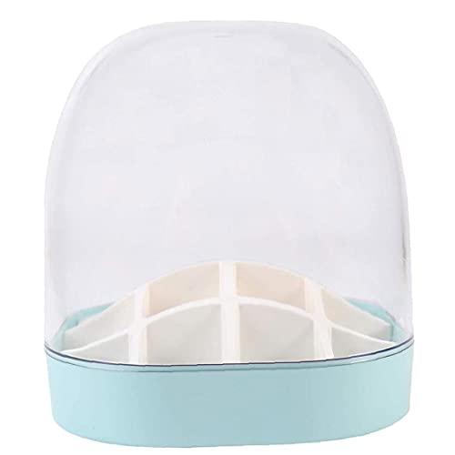 Boîte de rangement cosmétique de 16 compartiment rouge à lèvres rouge à lèvres avec cadre transparent transparent anti-poussière bleu