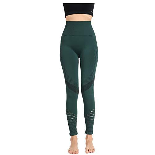 Leggins Push Up Mujer Malla Transpirables Color sólido Mallas de Deporte de Mujer Cintura Alta Elásticos Pantalones Deportivos Fitness Gimnasio
