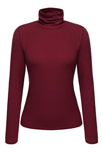 Zeagoo Damen Rollkragen Basic Slim Fit Shirt Langarmshirt Top Bluse, Weinrot, EU 36(Herstellergröße:S)