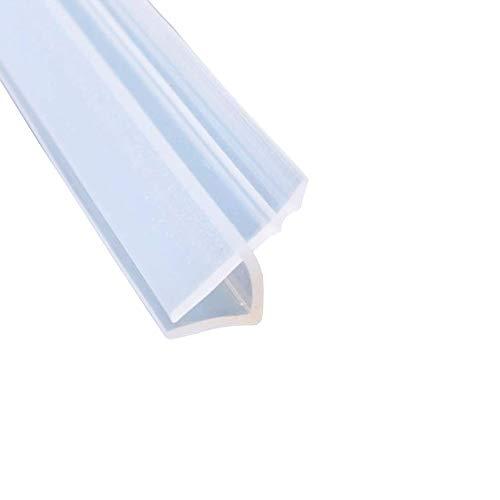 Mintice - Tira de sellado para puerta de baño, mampara de ducha, ventana, cierre curvado, parte inferior de cristal de goma plana, transparente