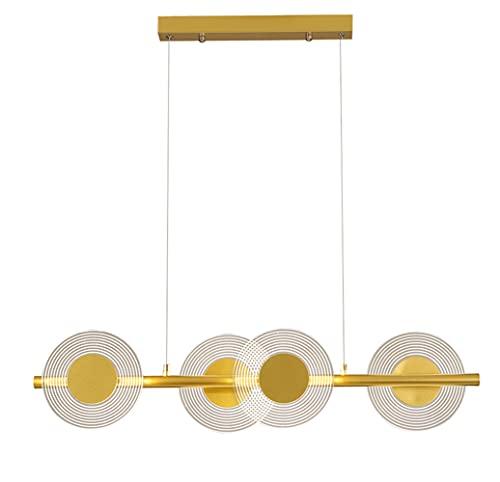 LONSTAII Lámpara Colgante Led Comedor Moderno Creativo 4 Acrílico Diseño Redondo Lámpara de Suspensión Luminaria Colgante Regulable para Dormitorio Luces Sala Estar Hotel Ø80cm,Oro