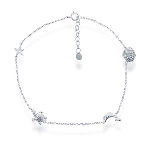 Sterling Silver Italian Nautical Starfish, Turtle, Dolphin, and Shell Adjustable 9+1' Anklet Bracelet